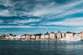 Stockholm, Sweden. Scenic Famous View Of Embankment In Old Town Of Stockholm At Summer. Gamla Stan I poster