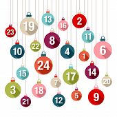 Advent Calendar Colorful Christmas Baubles Numbers With Shadows poster