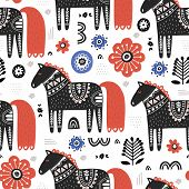 Horses In Nordic Style Handdrawn Seamless Pattern. Cute Cartoon Animals On White Background. Equines poster