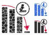Litecoin Panic Falling Chart Mosaic For Litecoin Panic Falling Chart Icon Of Spheric Dots In Differe poster