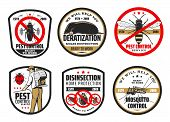 Pest And Mosquito Control, Deratization And Disinsection. Vector Exterminator In Uniform With Cold F poster