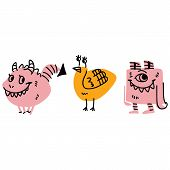 Cute Kids Strange Monster Design Illustrations. Hand Drawn Winged Creature Clipart. poster