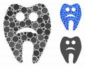 Sad Tooth Mosaic For Sad Tooth Icon Of Circle Elements In Variable Sizes And Color Tints. Vector Cir poster