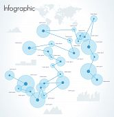 Network Infographic Vector. World Map And Information Graphics