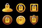 Security Vector Icon. Set Vector Lock Security Icon. Shield And Padlock Security Icon. poster
