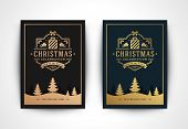 Christmas Greeting Card With Santa Claus Silhouette And Ornate Typographic Winter Holidays Text Vect poster