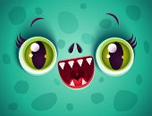 Vector Cute Face Of Green Monster For Halloween Mask. Kawaii Face Of Zombie With Green Eyes For Hall poster