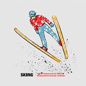 Ski Jumping Athlete In Fly Position. Vector Outline Of Ski Jumping With Scribble Doodles. poster