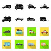 Vector Design Of Auto And Journey Icon. Set Of Auto And Trailering Stock Vector Illustration. poster