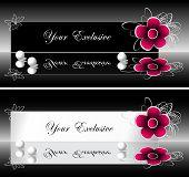 Banners de rótulos exclusivos com flor vermelha e pérolas