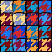 Classic Hounds-tooth Pattern In A Patchwork Collage Style. poster