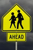 School zone ahead(with clipping path)
