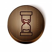 Brown Line Old Hourglass With Flowing Sand Icon Isolated On White Background. Sand Clock Sign. Busin poster