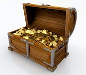 image of stolen  - Treasure chest full of golden coins on white background - JPG