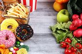 Healthy Or Unhealthy Food. Concept Photo Of Healthy And Unhealthy Food. Fruits And Vegetables Vs Don poster