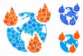 Earth Disasters Mosaic Of Filled Circles In Different Sizes And Color Tones, Based On Earth Disaster poster