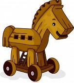 Ilustración de un caballo de madera de juguete