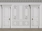 Classic Interior Walls With Copy Space.white Walls With Ornated Mouldings And Classic Cornice.classi poster