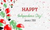 Sudan Independence Day Greeting Card. Flying Balloons In Sudan National Colors. Happy Independence D poster