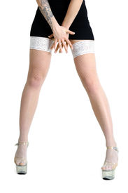 pic of panty-hose  - conceptual image of young tattooed woman in white panty - JPG
