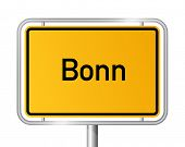 City limit sign Bonn against white background - signage - North Rhine Westphalia, Nordrhein Westfale
