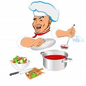 Funny Chef and fresh vegetable food for Gourmet