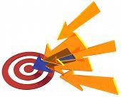Una de muchas flechas marketing apunte a ojo de toros ganador rojo blanco