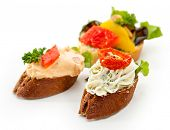 Cheese Canapes with Vegetables and Fruits