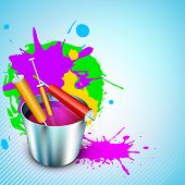 Vector illustration of Indian colorful festival Holi with bucket full of colors and colors gun(pichk
