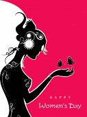 Silhouette of a girl on pink and white background for Happy Women's Day