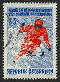 AUSTRIA - CIRCA 1991: Postage stamp printed in Austria dedicated to FIS Alpine World Ski Championshi