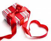 Art Valentine Day Gift Box On White Background
