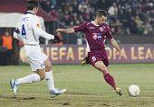 CLUJ-NAPOCA, ROMANIA - FEBRUARY 21: Javier Zanetti and Laszlo Sepsi in UEFA Europa League match, CFR 1907 Cluj vs UInter Milan, on 21 February, 2013 in Cluj-Napoca, Romania