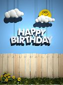 3D rendering of a wooden fence, with a blue sky , smiling sun, and happy Birthday written in the sky