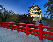 Hirosaki Castle in Hirosaki, Japan. The castle dates from 1611 and was the seat of the Tsugaru Clan