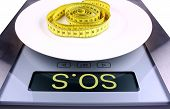 Digital Scale With Sos Ad. Weight Concept.