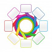 Eight elements circle - colorful presentation or design template. Vector.