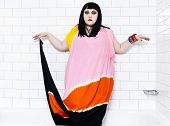 LONDON, UK - JANUARY 01, 2012: beth ditto portrait of the pop group gossip in a bathroom at London,