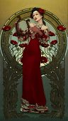 pic of lyre-flower  - picture of a lady with a harp in Victorian style - JPG