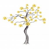 Abstract Illustration of Beautiful Yellow Flowers on Tree