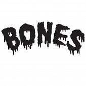 Vector drippy black bones text in black