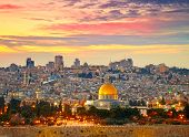 stock photo of muslim  - View to Jerusalem old city - JPG