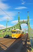 Laranja eléctrico sobre a ponte da liberdade em Budapeste, Hungria