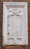 Wall plaque. Ferrara. Emilia-Romagna. Italy.