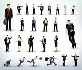 stock photo of black tie  - Collection of business people illustrations in different poses - JPG