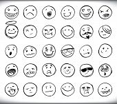 Set of thirty hand drawn emoticons or smileys each with a different facial expression and emotion, sketched outline on white