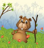 stock photo of buck teeth  - Illustration of a beaver holding a wood in the jungle - JPG