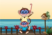 Illustration of monkeys wearing goggles