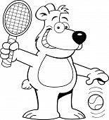 Cartoon bear playing tennis
