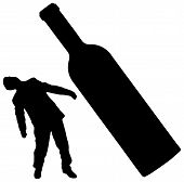Silhouettes Of Man And Bottle - Concept Of Drunkenness